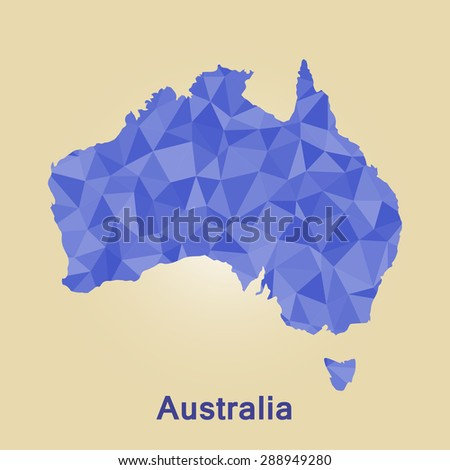 Australia flag map in geometric polygonal style.Abstract tessellation,background. Vector illustration EPS10 - stock vector