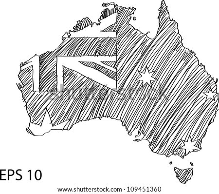Australia Flag Map Vector Sketch Up, EPS 10. - stock vector