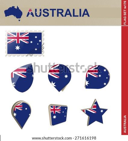 Australia Flag Set, Flag Set #176. Vector. - stock vector