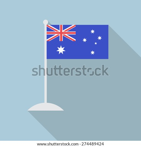 Australia flag with flagpole flat icon with long shadow. Vector illustration EPS10 - stock vector