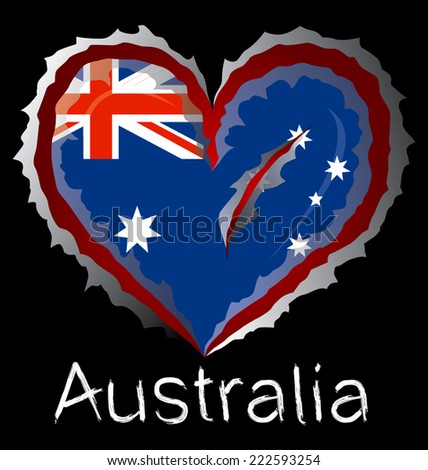 Australia flag with in claw scratches - stock vector