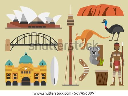Australia Flat Illustration Vector Sydney Australian Stock Vector