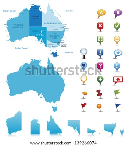 Australia-highly detailed map.All elements are separated in editable layers clearly labeled. Vector - stock vector