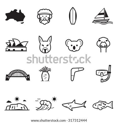 Australia icons - stock vector