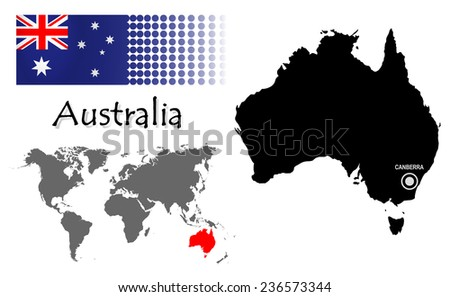 Australia info graphic with flag , location in world map, Map and the capital ,Canberra, location.(EPS10 Separate part by part) - stock vector