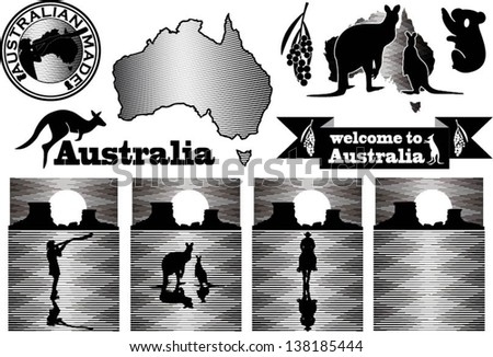 Australia labels in woodcut style - stock vector