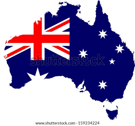 Australia map and flag - stock vector