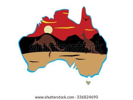 Australia map and two hopping kangaroo - stock vector