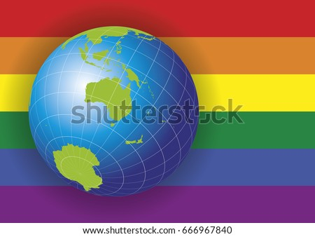 Australia map earth globe over gay vector de stock666967840 australia map earth globe over a gay rainbow flag background asia russia gumiabroncs Image collections