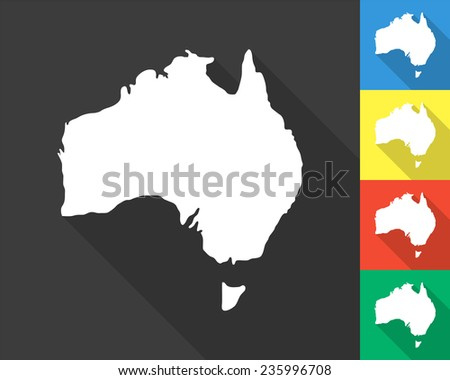 Australia map - gray and colored (blue, yellow, red, green) vector illustration with long shadow - stock vector