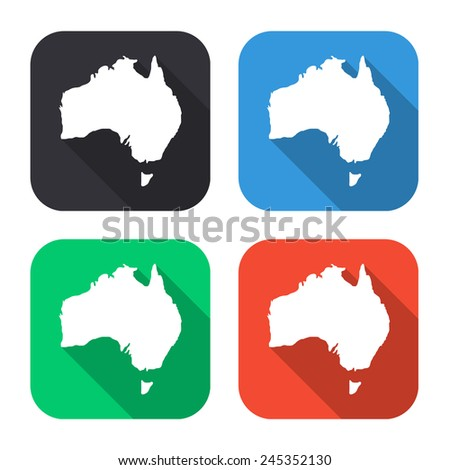 Australia map icon - colored illustration (gray, blue, green, red) with long shadow - stock vector