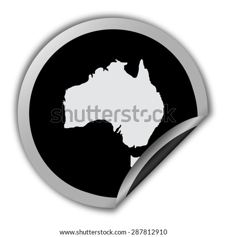 Australia map icon - round vector sticker