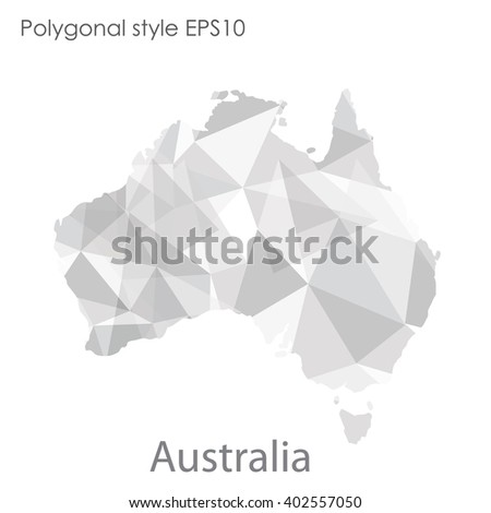 Australia map in geometric polygonal style.Abstract gems triangle,modern design background. - stock vector