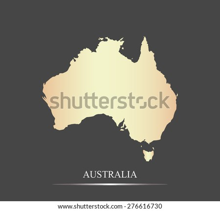 Australia map outlines in an abstract black and white design, vector map of Australia in a grey background - stock vector