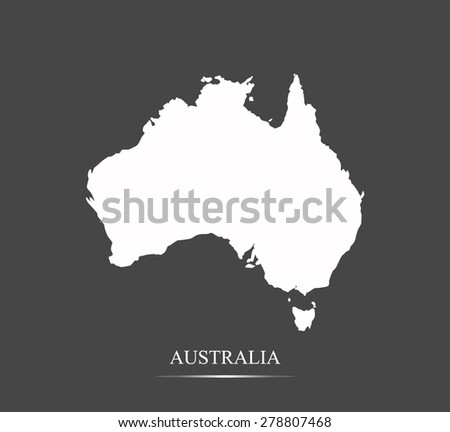 Australia map outlines in highlighted grey background, vector map of Australia in contrasted design for brochure template, tourist map, advertisement, web page design, science and education uses - stock vector
