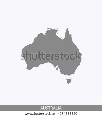 Australia map vector, Australia map outlines in contrasted grey background for brochure design and science and publication uses - stock vector