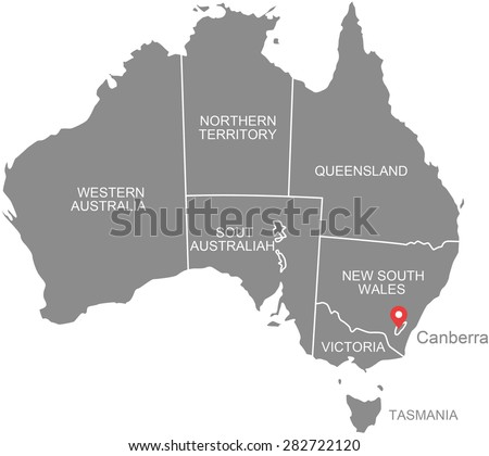 Australia map vector, Australia map outlines in grey background design with boundaries or polygons of provinces or states and their names - stock vector