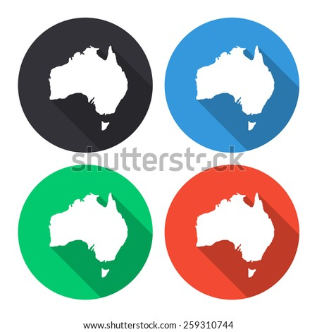 Australia map vector icon - colored(gray, blue, green, red) round buttons with long shadow - stock vector