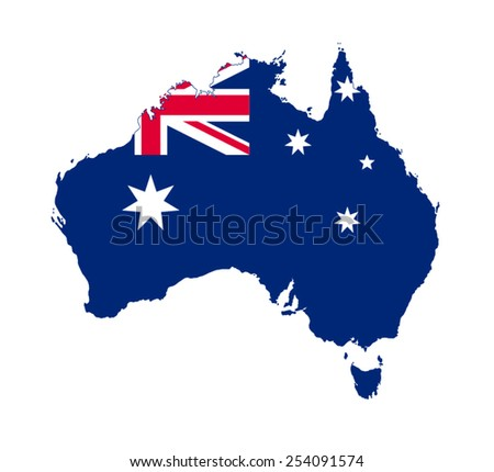Australia map with official flag - stock vector