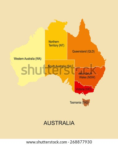 Australia map with regions  - stock vector