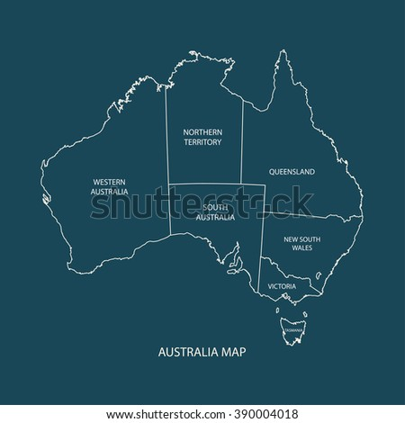 AUSTRALIA MAP  WITH REGIONS flat design illustration vector - stock vector