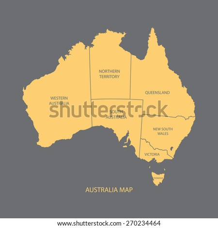 AUSTRALIA MAP WITH REGIONS illustration vector - stock vector