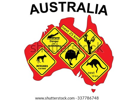 Australia map with various signs inserted in the map - stock vector