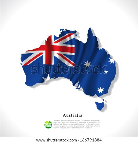 Australia map with waving flag isolated against white background, vector illustration  - stock vector
