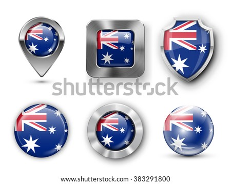 Australia Metal and Glass County Flag Badges, Buttons, Map marker pin and Shields. Vector illustrations - stock vector