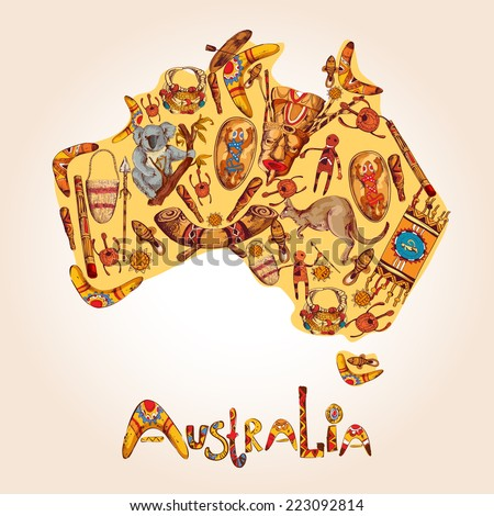 Australia native aboriginal tribal ethnic colored sketch symbols in australian continent shape vector illustration - stock vector