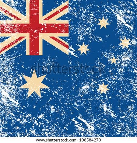 Australia retro flag - stock vector