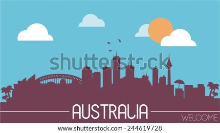 Australia skyline silhouette flat design vector illustration - stock vector