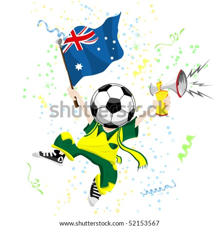 Australia Soccer Fan with Ball Head. Editable Vector Illustration - stock vector