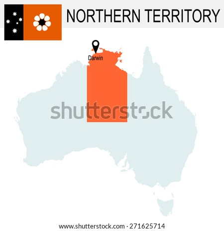 Australia Territories Of Northern Territory's map and Flag - stock vector