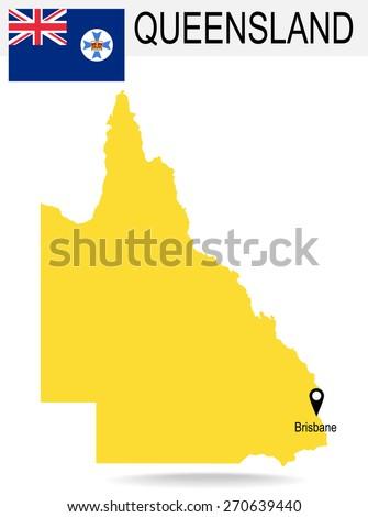 Australia Territories Of Queensland's map and Flag - stock vector