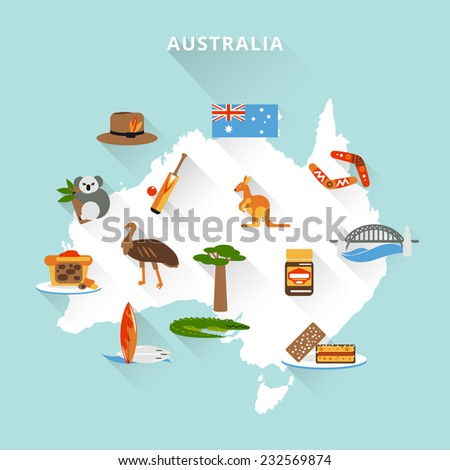 Australia tourist map concept with travel food sport nature icons vector illustration - stock vector