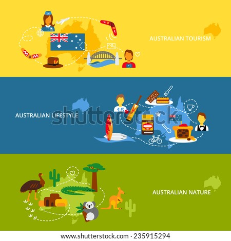 Australia travel flat banner set with australian tourism lifestyle nature isolated vector illustration - stock vector