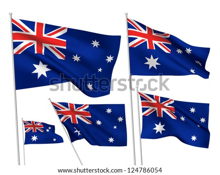 Australia vector flags. A set of 5 wavy 3D flags created using gradient meshes. - stock vector