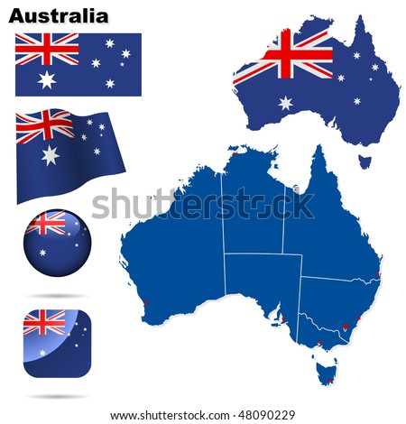 Australia vector set. Detailed country shape with region borders, flags and icons isolated on white background. - stock vector