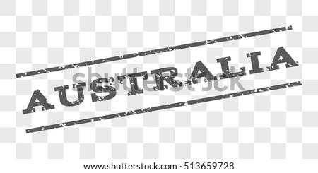 Australia watermark stamp. Text caption between parallel lines with grunge design style. Rubber seal stamp with unclean texture. Vector grey color ink imprint on a chess transparent background.