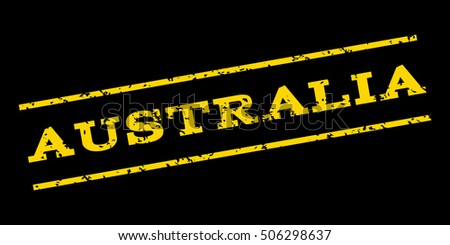 Australia watermark stamp. Text Tag between parallel lines with grunge design style. Rubber seal stamp with scratched texture. Vector yellow color ink imprint on a blue background.