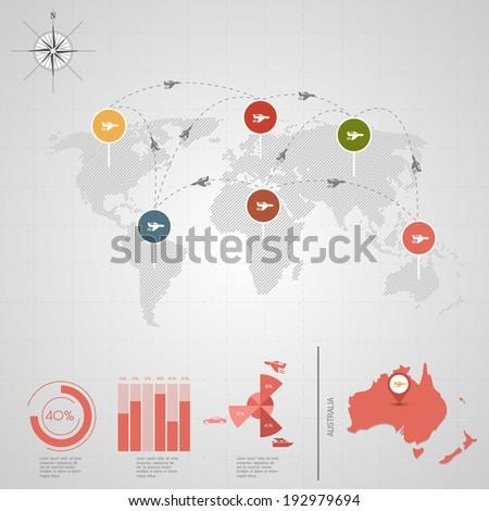 AUSTRALIA. World Map. Travel vector Illustration. - stock vector
