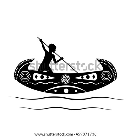 Australian aborigine or Polynesian sailing on a traditional boat with a pole. The boat is decorated with national, native, ethnic patterns and ornaments tribes of Australia and Polynesia