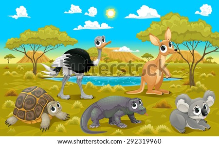 Australian animals in a natural landscape. Funny cartoon and vector illustration. - stock vector