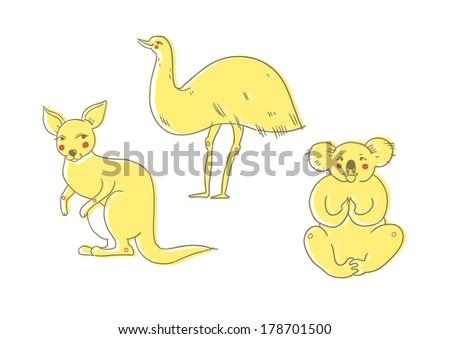 Australian animals (kangaroo, emu, koala bear) isolated on white - stock vector