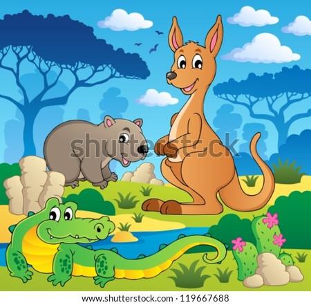 Australian animals theme 1 - vector illustration. - stock vector