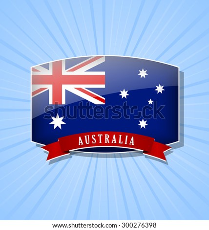 Australian bulged badge or icon with ribbon on light blue background - stock vector