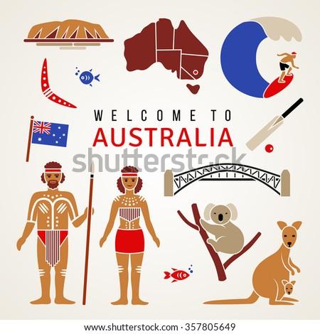 Australian Cultural Symbols Set Flat Icons Stock Vector 357805649