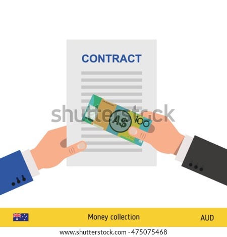 Australian Dollar banknote. Contract concept vector illustration.