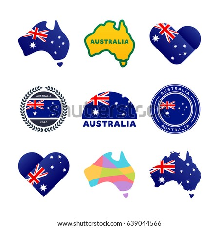 Australian Flag Map Other National Symbols Stockvector 639044566